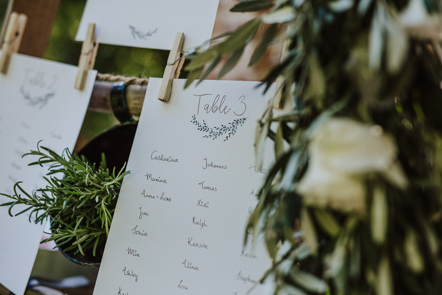 Typography for the tableau de marriage with a rustic style made for a wedding in Italy